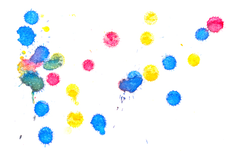 Abstract red, yellow and blue ink splash. Ink blots. Elements of design. The water-soluble ink on white paper Leste. Abstract modern art.