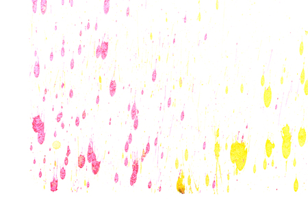 fineart: Abstract two-color yellow red ink splash. Ink blots. Elements of design. The water-soluble ink on white paper Leste. Abstractionism