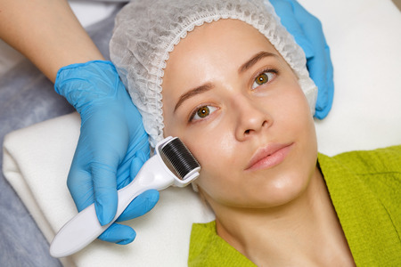 Hardware cosmetology. Mesotherapy. Dermaroller. Processing cheek area. Spa treatments. Face rejuvenation.