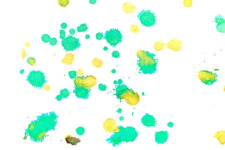 fineart: Abstract two-color yellow green ink splash. Ink blots. Elements of design. The water-soluble ink on white paper Leste. Abstractionism