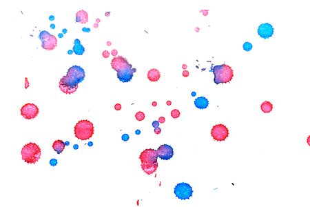 Abstract two-color red blue ink splash. Ink blots. Elements of design. The water-soluble ink on white paper Leste. Abstract art Stock Photo