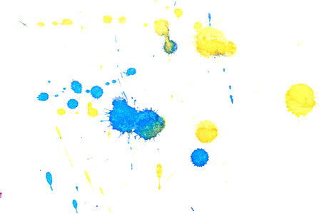abstractionism: Abstract two-color yellow blue ink splash. Ink blots. Elements of design. The water-soluble ink on white paper Leste. Abstract art