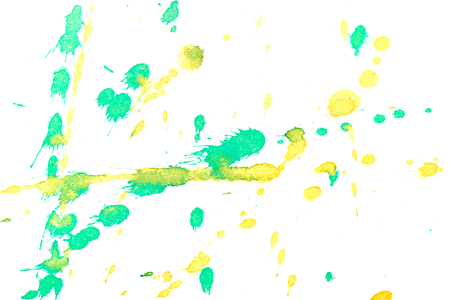 abstractionism: Abstract two-color yellow green ink splash. Ink blots. Elements of design. The water-soluble ink on white paper Leste. Abstract art
