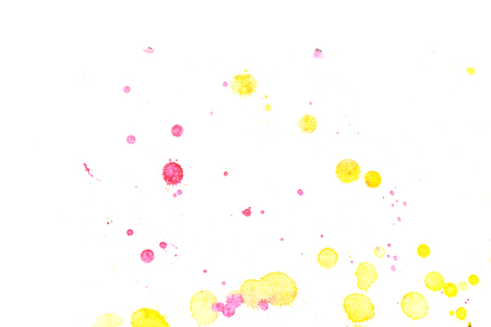 Abstract two-color yellow red ink splash. Ink blots. Elements of design. The water-soluble ink on white paper Leste. Abstract art