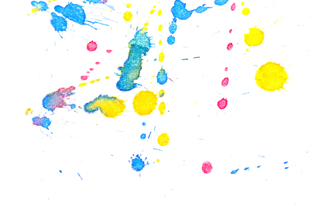 Abstract red, yellow and blue ink splash. Ink blots. Elements of design. The water-soluble ink on white paper Leste. Abstract contemporary art.