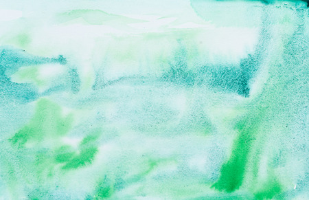 Emerald green watercolor abstraction background. Gradient watercolor drawing. Technique of wet watercolor. Element of design. Stock Photo