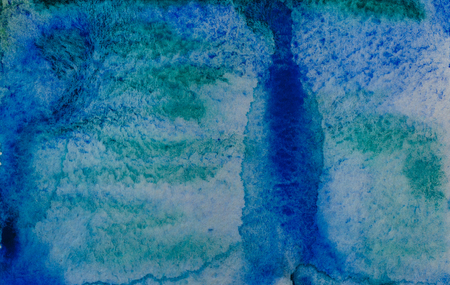 Blue turquoise watercolor abstraction background. Element of design. Color gradient. Watercolor texture. Stock Photo