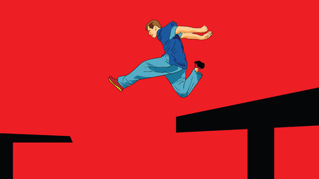 Man is jumping from roof to roof. Parkour. Active lifestyle. Courage and Adrenaline. Roofer. Vector illustration of pop art style.