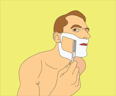 Man shaving razor. Unhappy man shaved half of his face. Vector art in the style of pop art  イラスト・ベクター素材