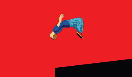 The guy is engaged in parkour in the city. He does a flip back. Vector illustration of pop art style. Ilustrace