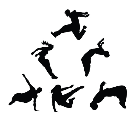 Silhouettes of people engaged in parkour. Sports guys and girls Vector silhouettes on white background.