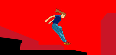 Girl jumping and overcomes obstacles. Parkour. Active lifestyle. Courage and adrenaline. Roofer. Vector illustration of a style of pop art.