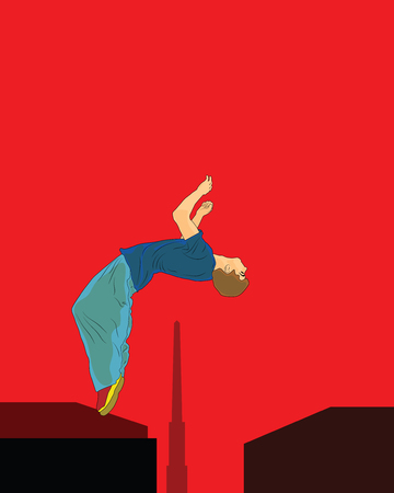 Young man doing a back flip in the background obelisk. Parkour in the urban space. Sport in the city. Sport activity. Vector in the style of pop art.