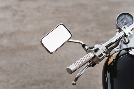 Motorcycle steering close-up. Speedometer, gas tank and brake handle in frame. Banco de Imagens - 103182657