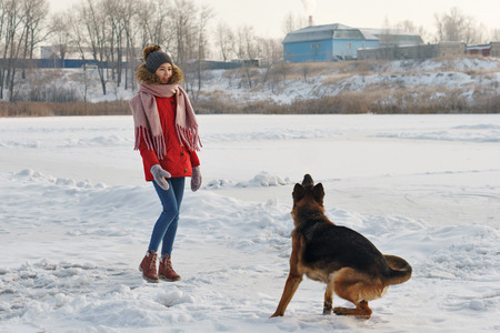 Teenager girl and German shepherd for a walk. Sunny winter day. Outdoor games