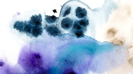 Abstract watercolor hand painting background. Gradient color transitions. Dark blue, purple and brown color.