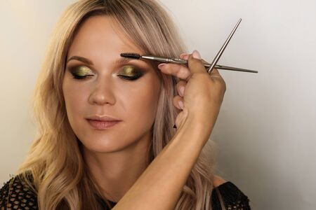 Work makeup artist. Makeup artist combing eyebrows of model with special brush. Brow architecture. Evening make-up. Beauty industry. Beauty salon concept Imagens