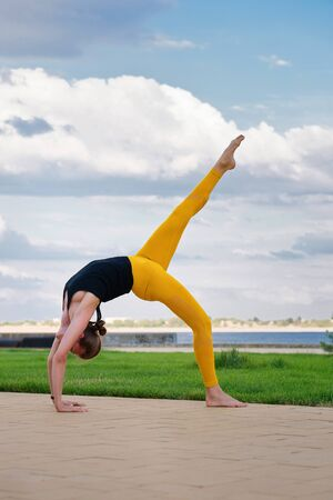 Woman performs yoga in a park on International Yoga Day. Yoga best holistic workout. Mental and physical health. Girl in yoga position. Yoga instructor with do sport. Sport and health care. Foto de archivo - 129208924