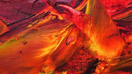 Brush strokes with oil paints. Artistic abstract. Design elements. Shades of red.