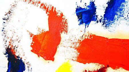 Brush strokes with oil paints. Artistic abstract. Design elements. Shades of red, blue and yellow.