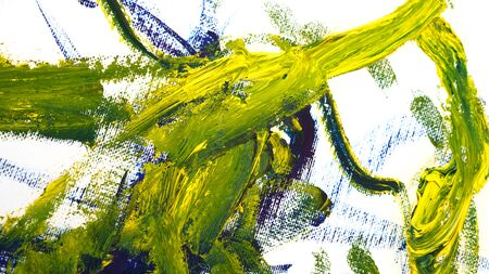 Brush strokes with oil paints. Artistic abstract. Design elements. Yellow and green colors.