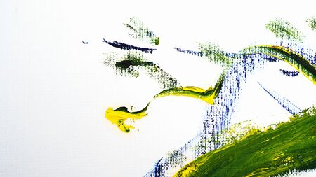 Brush strokes with oil paints. Artistic abstract. Design elements. Green and yellow colors.