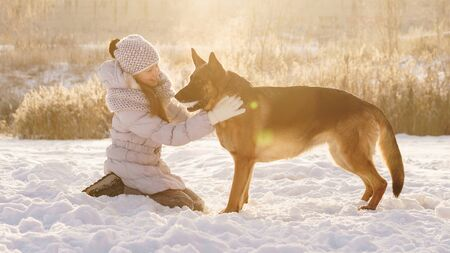 Pretty young school girl on a walk with the pet German shepherd in winter snow sunny day