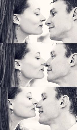 Close-up portrait. Enjoyment of each other, tenderness. Lovers kiss. Black and white image. Ð¡ollage 写真素材 - 132663152