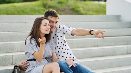 Couple lover enjoy honeymoon and long vacation, together relax and confortable, valentine occasion. Girl and guy spend time together in park. Lovers enjoying to each other and joint pranks. 스톡 콘텐츠
