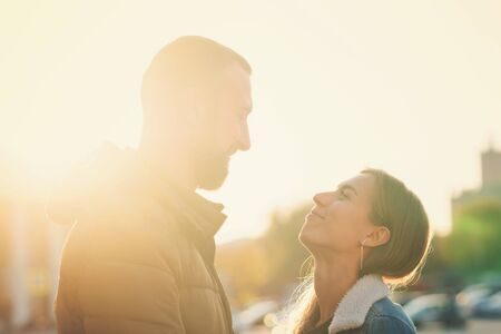 Couple for lifestyle design. Young couple on romantic date sunny day. Leisure together. Young people. Sunset Stock Photo