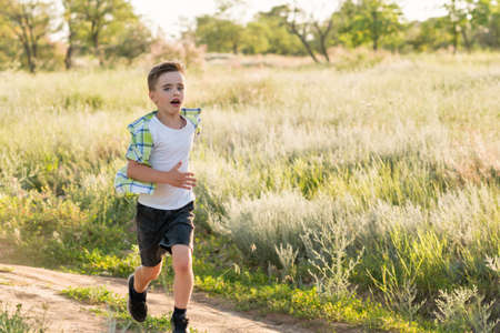 Emotional portrait of a happy and cheerful little boy, running and playing on a walk in the park. Happy childhood. Summertime. Summer vacation. Positive emotions and energy Banco de Imagens