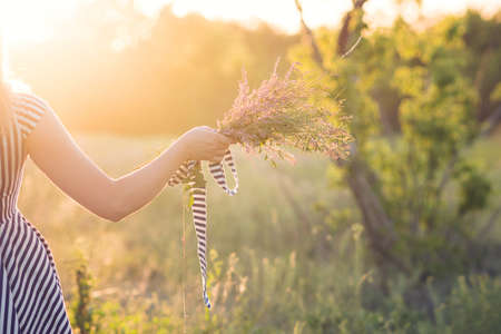 Unrecognizable woman in striped sundress holds bouquet wildflowers in hand on background of green field. Young carefree girl enjoying freedom in beautiful nature environment. Sunny day