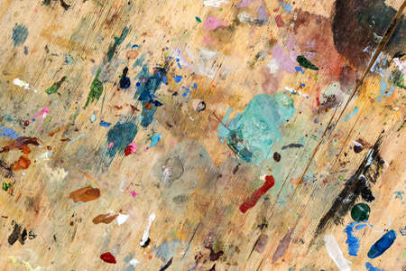Abstract Backdrop Art Paint Strokes On Wood Background. Color Texture. Fragment Of Artwork.