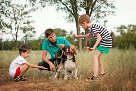 Father gives master class to his sons in teaching Pet. Purebred Beagle Dog Learns to Listen and Execute Commands of their Owners. Summer Vacation in Rural Settings. Life in the Countryside