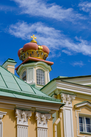 princely: A fragment of Prince Menshikov Palace in Oranienbaum with a princely crown on the roof.