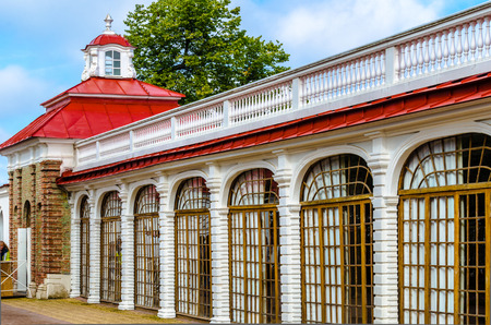 The facade of the Museum of the Palace Monplaisir in Peterhof,