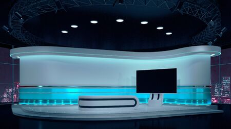 TV Virtual Studio background 3d illustration Imagens