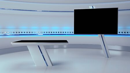 TV Virtual Studio background 3d illustration Archivio Fotografico
