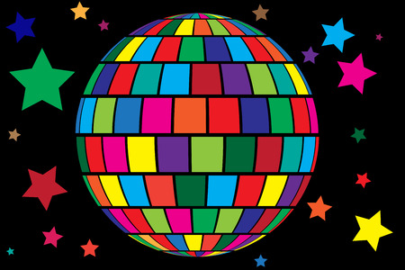 disco party: Colorful cartoon style vector background with disco ball and stars