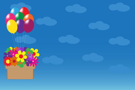 Vector illustration of balloons hanging basket with colorful flowers on blue sky background with clouds Vector