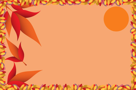 Autumn seasonal color illustration with leaves frame and sun Vector