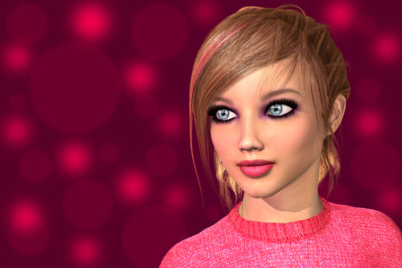 dolly: Young dolly girl closeup face 3D render illustration Stock Photo
