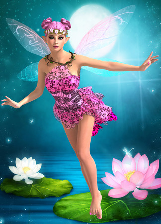 Beautiful doll fairy girl 3D render illustration