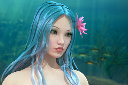 nymph: Beautiful water nymph on underwater background 3D render illustration Stock Photo