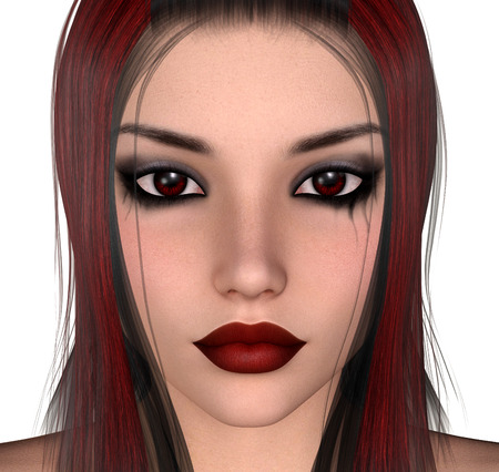 female face closeup: Female closeup face 3D render illsutration on white isolated background