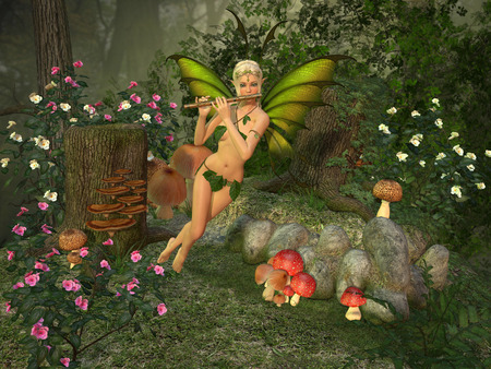Elven beautiful woman in fairytale forest plays on flute 3D illustration render