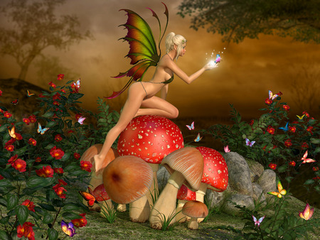 Elven beautiful woman in fairytale forest on a mushroom with butterfly on glowing hand 3D illustration render