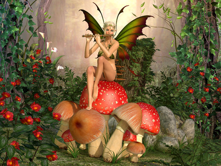 Elven beautiful woman in fairytale forest sits on a mushroom and plays on flute 3D illustration render
