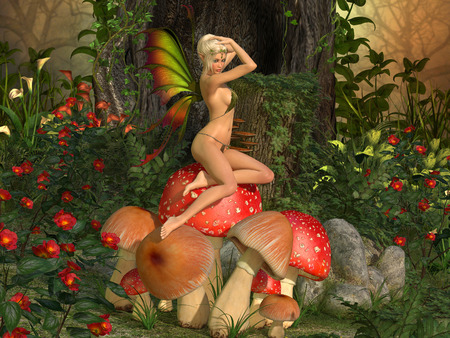 Elven beautiful woman in fairytale forest sits on a mushroom 3D illustration render