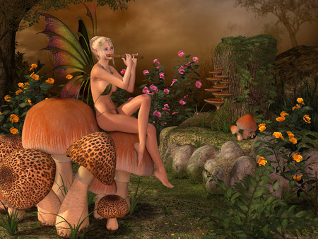 butterfly myth: Elven beautiful woman in fairytale forest sits on a mushroom and plays on flute 3D illustration render